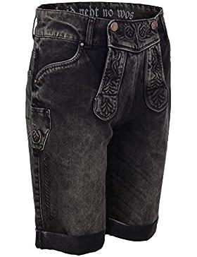 Herren Hangowear Jeans 'Lederhose' braun grau, braun-grau,