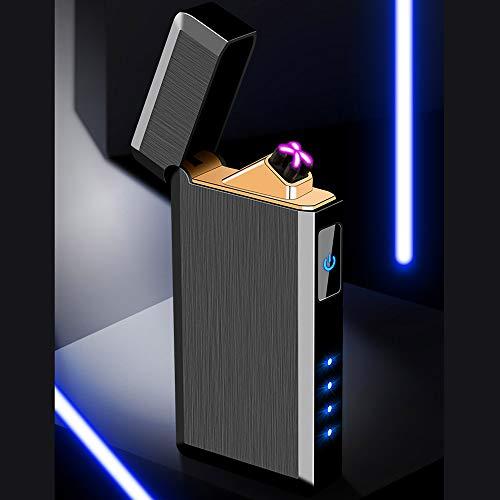 Accendino USB SHUNING accendisigari elettrico accendino ricaricabile senza fiamma con doppio accendino USB (Black)