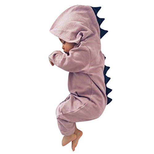Xshuai For 0-18 Months Kids, Fashion Cute Newborn Infant Toddler Baby Boy Girl Dinosaur Hooded Romper Jumpsuit Outfits Clothes (6-12 Months, Pink)