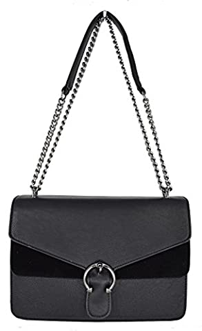 CRAZYCHIC - Women Cross-body bag - Suede front flap with buckle - Synthetic Leather - Chain Clutch - Black