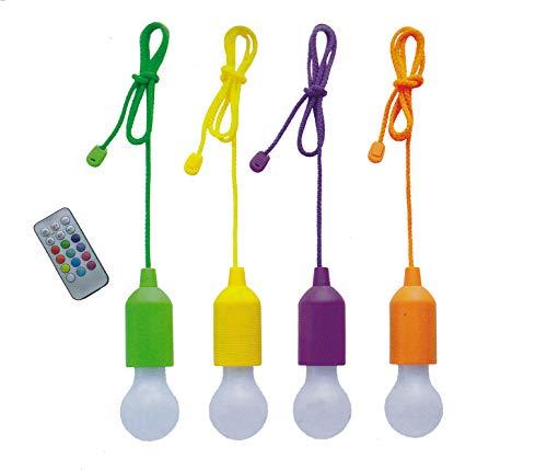 4er Set LED Bulbs Ziehlampe Farbwechsel Lampe Licht Seil Glühbirne Garten Deko