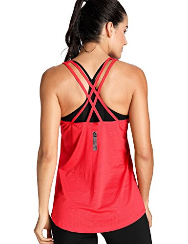 Meliwoo Damen Mesh Sport Tank Top - Classic Ärmellos Fitness Yoga Tops Rot L (Mesh-tank)
