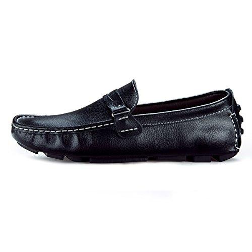 AFFINEST Herren Mokassins Leder Schuhe Slipper Freitzeit Schuhe Schwarz