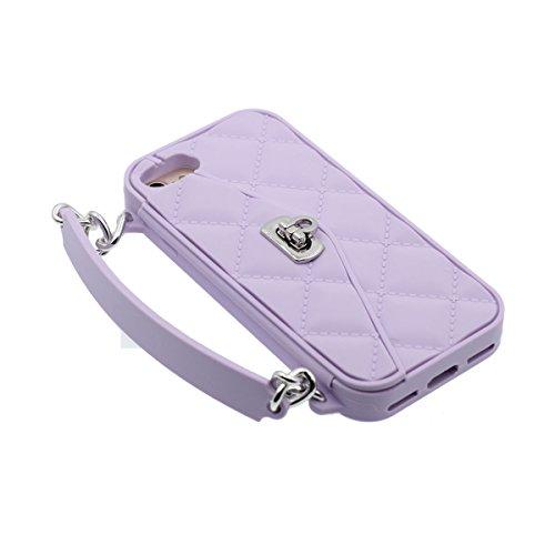 """iPhone 7 Coque Case Silicone Gel 3D Peu iPhone Sac à main Portefeuille Original Désign Souple étui pour Apple iPhone 7 4.7"""" Anti Choc Diverses couleurs Violet"""