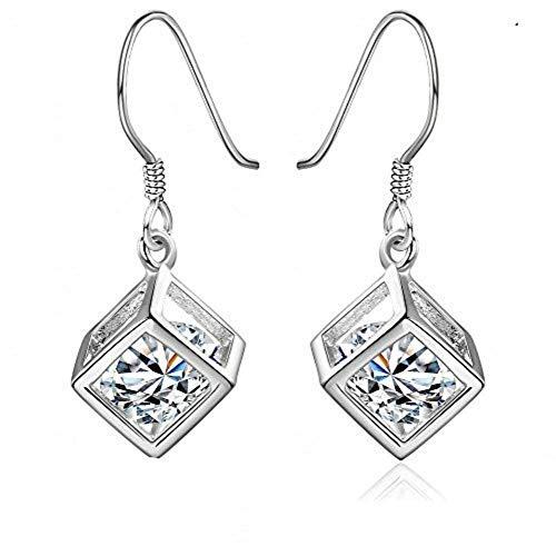 E-H Geometrie Hohlwürfel Ohrringe Glänzender Kristall Zirkon Anhänger Würfel Gitter Ohrringe Anhänger Schmuck Damen -