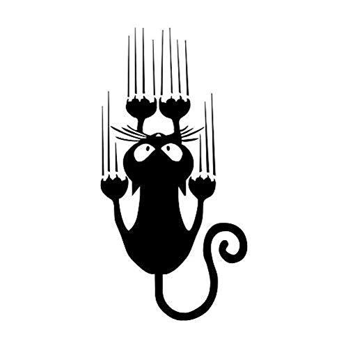 osmanthusFrag Selbstklebendes Wasserdichtes Auto-Aufkleber-lustiges Katzen-Muster-LKW-Fenster-Stoßaufkleber Geschenk Black
