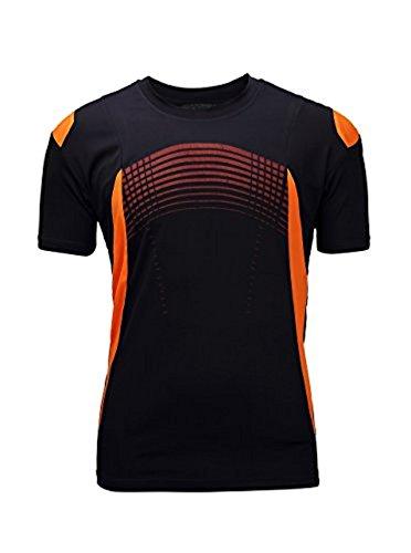 SWISSWELL Herren Sport T-Shirt Kurzarm Trikot aus 100% Polyester Schnell-Trocken Slim Fit Quick-Dry Tee Kurzarm Hemd Muskel Gym Fitness Training Tshirt Schwarz/Orange EU-S