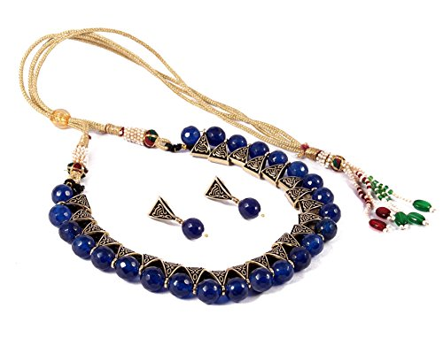Simaya Fashionista Jewellery Blue Colour Onyx Beads Fashionable Necklace Set With Tops...