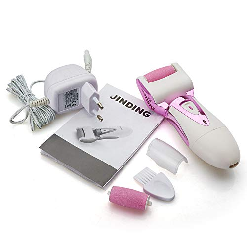 Rimozione della pelle dura elettrica pedicure lima per piedi strumento piedi cura per velluto liscio e fine 2 testine a rullo e spazzola per la pulizia,pink