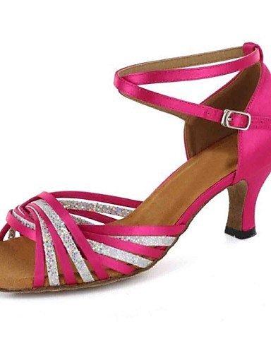 ShangYi Chaussures de danse(Bleu / Violet / Gris / Autre) -Personnalisables-Talon Personnalisé-Similicuir-Latine black and red