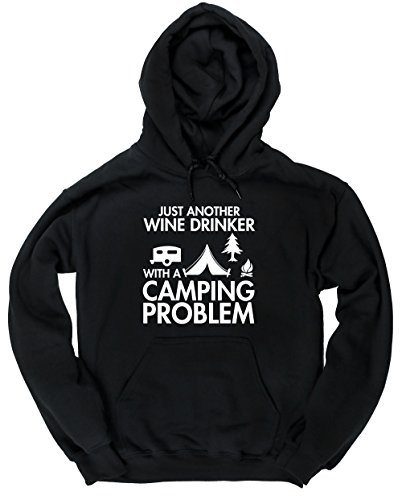 Hippowarehouse Just Another Wine Drinker with a Camping Problem Unisex Hoodie Hooded top (Specific Size Guide in…