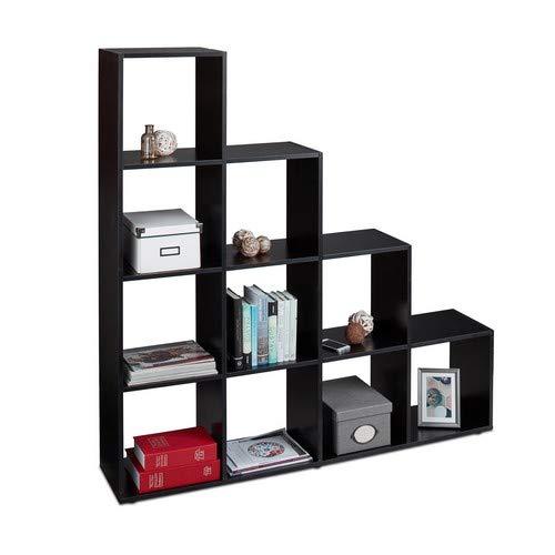 Relaxdays Stufenregal Holz, 10 Fächer, Treppenregal als Raumteiler und Bücherregal, für Schuhe und Kleidung, schwarz -
