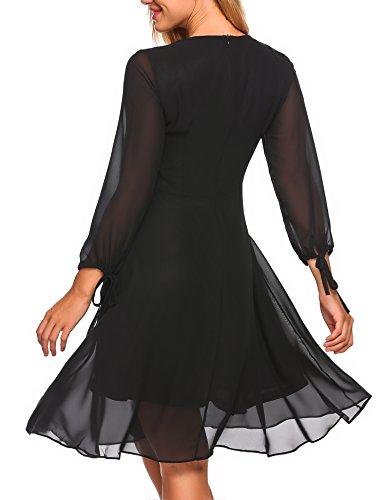 Zeagoo Damen Elegant Sommerkleid Chiffonkleid Polka Dots Cocktail Party Kleid A Linie Knielang Schwarz