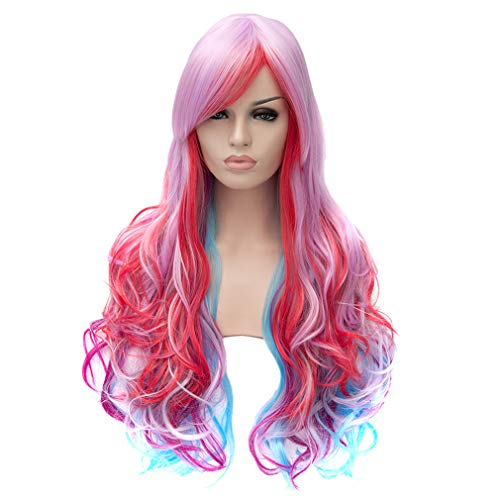 Baisheng Women Long Straight Side Parting Natural Black Cosplay Full Fashion New Wigs Anime Costume Synthetic Fibre Full Hair Heat Resistant Wigs (27.56inch-LW-1073 Mauve gradient)
