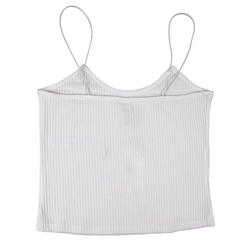Eleery Débardeur Femme Top Court Bustier Bretelles Vest sans Manches Blouse Casual Maillot de Corps Sytle Simple FR32-34 Blanc