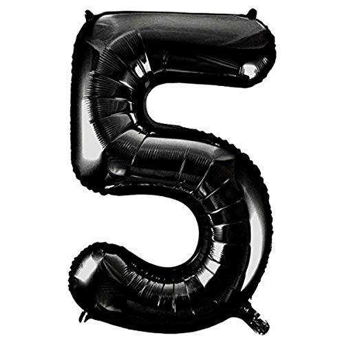 Polka Dot Sky 40 Zoll Großes Schwarz Zahlen Luftballons Helium Digital Ballons für Geburtstag Jubiläum Party Festival Dekorationen 0-9 - Schwarz, 40