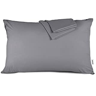 ADORIC Pillow Cases, Grey Pillowcases 2 Pack Queen Size 50 X 75 CM Silky-soft Brushed Microfiber, Anti-static Dust Mite Resistant