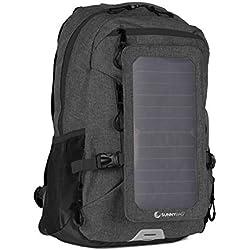 SunnyBAG Explorer+ Sac à Dos pour Ordinateur Portable Panneau Solaire Amovible 6Watts Port de Charge USB Énergie Solaire - Noir-Noir