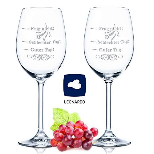 Im Set: Leonardo XL Weingläser graviert mit Guter Tag, Schlechter Tag, Frag nicht! - Stimmungsglas - Lustiges & Originelles Geschenk - Geeignet als Rotweinglas Weißweinglas V3