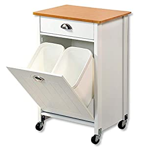 Kesper Küchenwagen mit Mülltrennsystem aus Holz, 50 x 37 x H79 cm Küchenschrank für Müllsäcke mit Arbeitsplatte und Schublade, 15 L Mülltüten