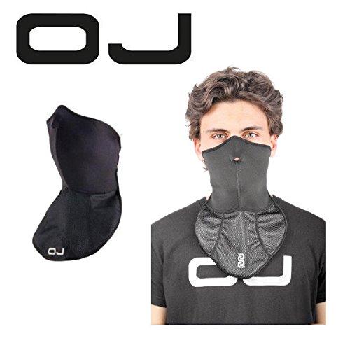Mask Maske in technischer Stoff mit Halsband winddicht Black oJ mit Verschluss verstellbar -