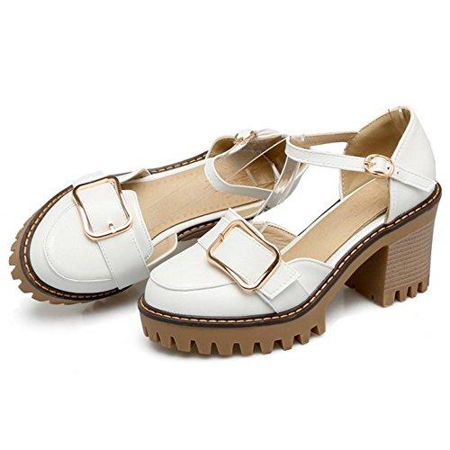 COOLCEPT Damen Mode Knochelriemchen Sandalen Geschlossene Blockabsatz Plateau Schuhe White