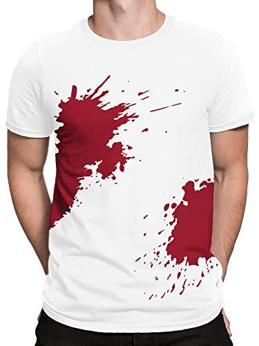vanVerden Herren T-Shirt Blut Blutiges Shirt Wunden Gruseliges Halloween Kostüm, Größe:L, ()