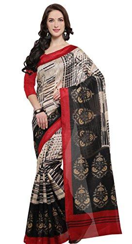 Rajnandini Women's Cream And Black Jute Silk Printed Saree