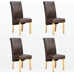 More4Homes - 4 x silla de comedor de cuero marrón cambridge a patas con acabado de madera de roble silla giratoria con respaldo