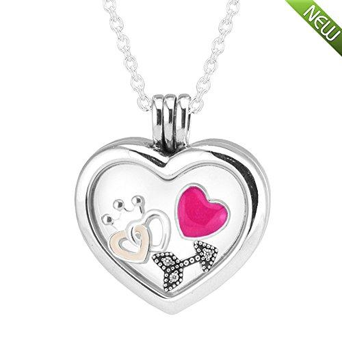 e Mode Herz mittel schwimmende Locket authentischen 925 Sterling Silber Locket Mit Herz, Stern & Liebe Petites Halskette Schmuck (Heart Star&Love) ()