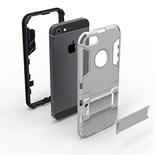 Cuitan 2 in 1 Dual Layer Hybrid Schutzhülle für iPhone 5S / 5 / 5G, TPU Weich Bumper und PC Harte Rückseitige Abdeckung Built-in Ständer Design Rüstung Hülle Handytasche Tasche Case Cover mit Toch Pen Silber