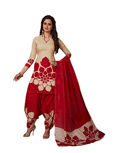 FABFACTTORY's Cream & Red Cotton Printed Salwar Suit Unstitched Dress Material