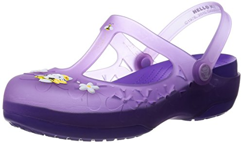 crocs Womens Carlie Mary Jane Flower Hello Kitty Shoes, Iris/Neon Purple, US 6 - Purple Mary Schuhe Jane