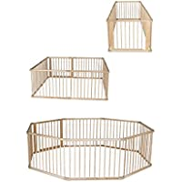 DP0058, Holz Laufstall, Laufgitter mit Tür, ideal für Baby & Kleinkind