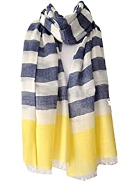 Purple Possum Scarf Blue Cream and yellow Striped Ladies Fair Trade Shawl Wrap , Blue stripe scarf