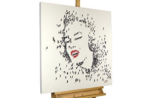 KunstLoft® Acryl Gemälde 'Marilyn Monroe' 80x80cm | original handgemalte Leinwand Bilder XXL | Abstrakte Marilyn Monroe in Schwarz-Weiß People | Wandbild Acrylbild moderne Kunst einteilig mit Rahmen