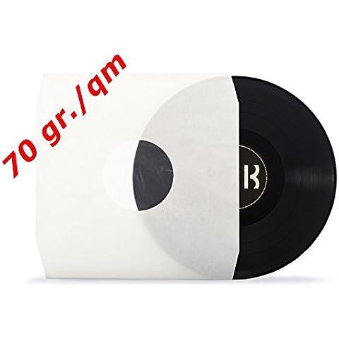 50buste Deluxe LP interno, crema, medio fori, foderato, taglio angolare,