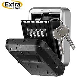Boîte à clés sécurisée Mural, Boite à Clef avec 10 000 Codes à 4 Chiffres, Coffre Clef extérieur en Acier Inoxydable, clé de Mot de Passe avec Cache de Protection Robuste et Niveau IPX5 étanche