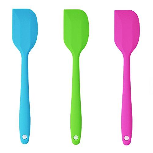 Belmalia 3X Teigschaber Silikon, einteilig, 22 cm Set Blau + Grün + Pink Rosa, 1,
