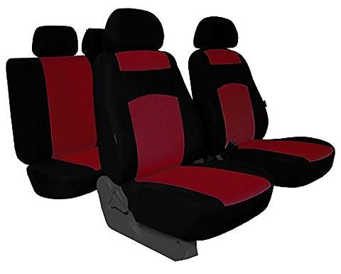 Housses de siège Classic Plus compatible avec les modèles Peugeot–universel Housse de siège en tissu pour sonderpreis. dans cette annonce Rouge foncé (Disponible en 5couleurs dans d