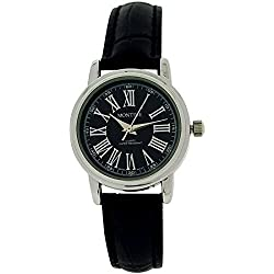 Montine Analogue Ladies Black Dial & Black Leather Strap Buckle Watch MOW3196LSK