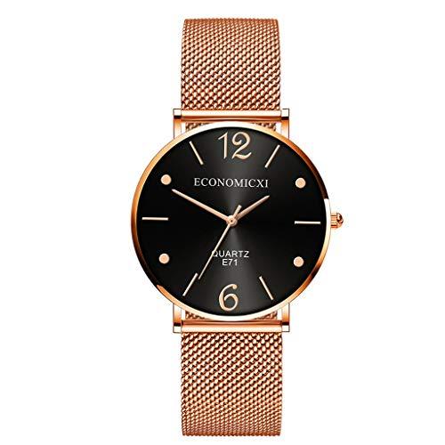 SHE.White Damen Uhr Armbanduhr Frauen Mode Elegante Edelstahl Analoge Quarz Armbanduhr_Rosa Golden
