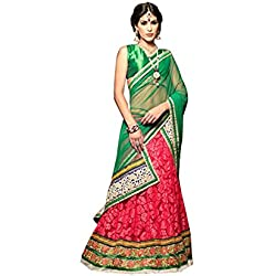 Terramart_Pink Colour With Pink & Parrot Green Combinated Embroidered Lehanga Choli With Blouse & Netted Green dupatta Set For Women