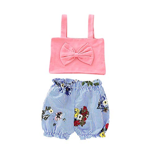 Mitlfuny Kleidung Set Kleid Damen Sommer Elegant Baby Mädchen Outfits & Set,Säugling Baby Kind Mädchen ärmellose Bogen Weste Tops + Floral Shorts Outfits Set -