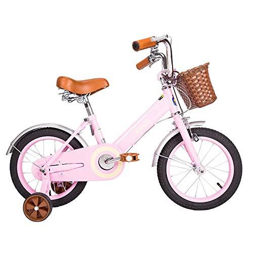 NZ-Children\'s bicycles Kinderfahrrad Kinderwagen 14.12.16.18 Zoll Mountainbike Vintage Moonlight Weiß, Pink (Farbe: Pink, Größe: 16 Zoll)
