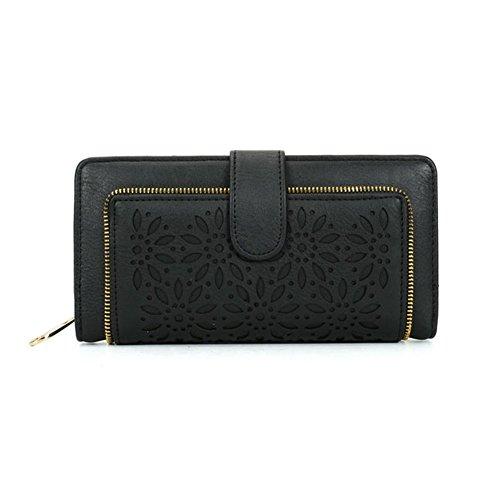 GLITZALL Damen Lady Leder Geldbörse Kreditkarte Clutch Halter Lange Brieftaschen (Schwarz)