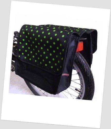 T-JOY-36 Fahrradtasche JOY dots little 3 green Kinderfahrradtasche Satteltasche Gepäckträgertasche 2 x 5 Liter KINDER