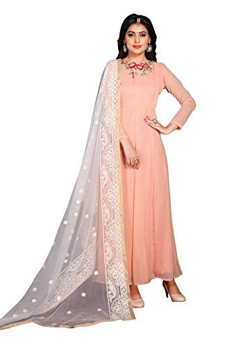Fab Valley Women's Georgette Semi-Stitched Salwar Suit (Peach)