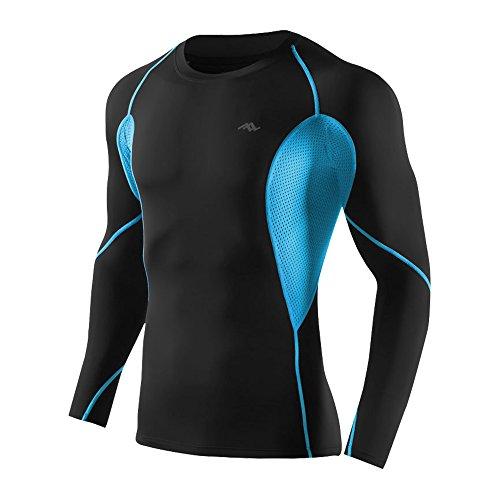 Fitsund Herren Funktionsshirt Kompressionsshirt Sport Unterhemd Langarm (2XL (EU), Blau Eins)
