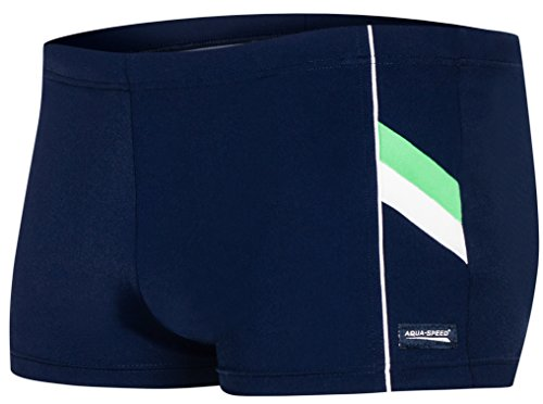 AQUA-SPEED® Herren Badehose | Schwimmhose | S-XXXL | Modern | Perfect Fit | UV-Schutz | Chlor resistent | Kordelzug 17. Navy - Green - White